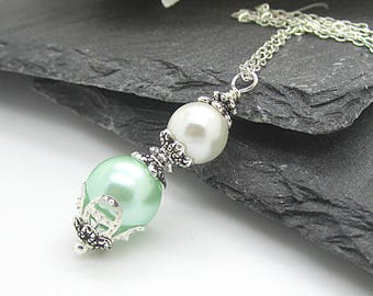 Ivory and Mint Pearl Necklace, Pearl Drop Pendant, Mint Bridesmaid Jewellery, Bridal Party Gifts, Bridesmaid Sets, Wedding Keepsake