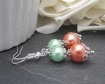 Coral Mint Pearl Drop Earrings, Peach Green Bridesmaid Jewellery, Mint Wedding, Bridesmaid Gifts, Pearl Dangles