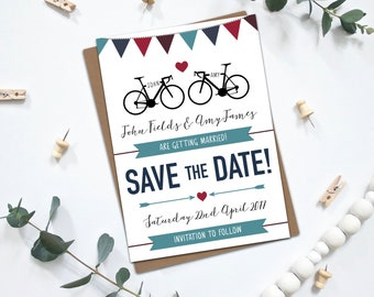 PRINTABLE Personalised Save the Dates  - Road Bikes / Road Cycling / Bicycle / Biking Theme with Bunting - Wedding Stationery - Navy Bunting