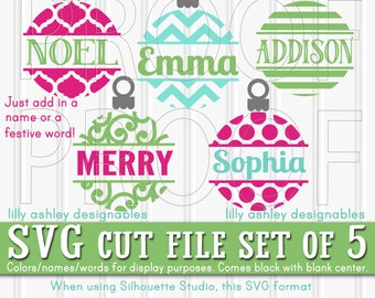 Ornament SVG Files Set of 5 cut files svg/png/jpg formats Commercial use! 5 ornaments blank center for christmas monogram svg christmas svg