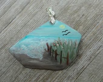 One-of-a-Kind OOAK Hand Painted Upcycled Tumbled Glass Beach Scene Pendant
