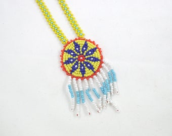 Vintage Native American Style Seed Bead Necklace