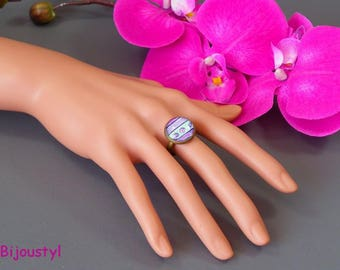 Ring - Cabochon 16 mm - Purple - Purple - green image
