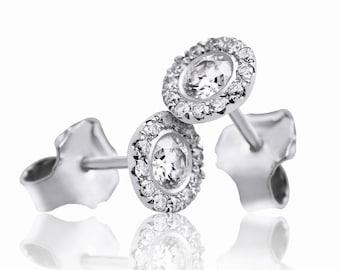 White Gold Stud Earrings, Round Earrings, Sparkly Diamonds, Diamond Screw Backs Earrings, Halo Earrings,  Delicate earrings, Classic