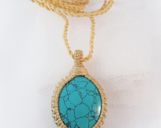 Turquoise healing stone macrame pendant
