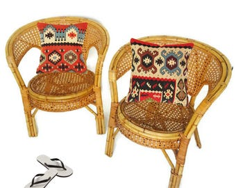 Vintage Bamboo Chairs Rattan Cane Chair PAIR Bohemian Decor Barrel Back Bistro Chairs French Farmhouse Meets Retro Rattan Chairs Matching