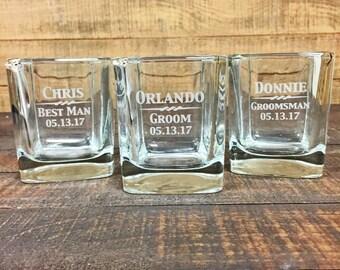 Groomsmen Gift, 1 Whiskey Glass, Rocks Glass, Engraved Glasses, Whiskey Glasses, Custom Whiskey Glasses, Monogram Whiskey Glass