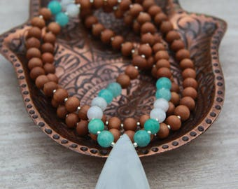 Moonstone Sandalwood Mala  Meditation Inspired Yoga Beads / mala beads BOHO chic