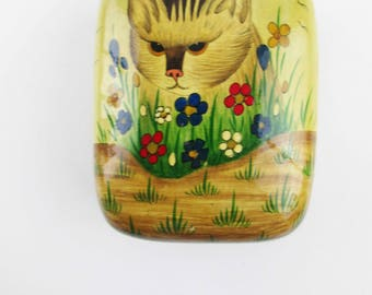 Cat Trinket Box - 'Kashmir Paper Mace Art' Box - Black Interior Full Color Outside - Cat in Flowers and Grass - Treasure Box - Made in India