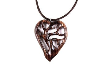 Tree of Life Pendant, Wooden Heart Necklace, Wooden Heart Pendant, 5th Anniversary Gift, Wooden Tree of Life Necklace, Wood Jewelry