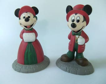 Mickey and Minnie Department 56 Disney Parks Village Series Hand Painted Porcelain Accessories Heritage Village Collection Christmas Village