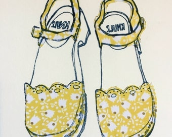 Yellow hand screen print of Swedish shoes/clogs hand drawn collaged 8x6 gift