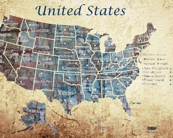 large us map etsy