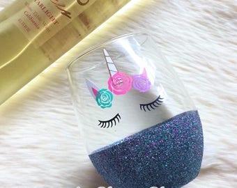 Unicorn Glitter Stemless Wine Glass // Glitter Glass // Stemless Wine Glass // Unicorn Wine Glass //  Unicorn //Unicorn Gift // Glitter Cup