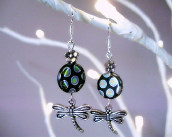 Polka dot earrings, dragonfly earrings, dragonfly gifts, dragonfly charms, nature earrings, garden earrings, dragonfly dangles, water nymphs
