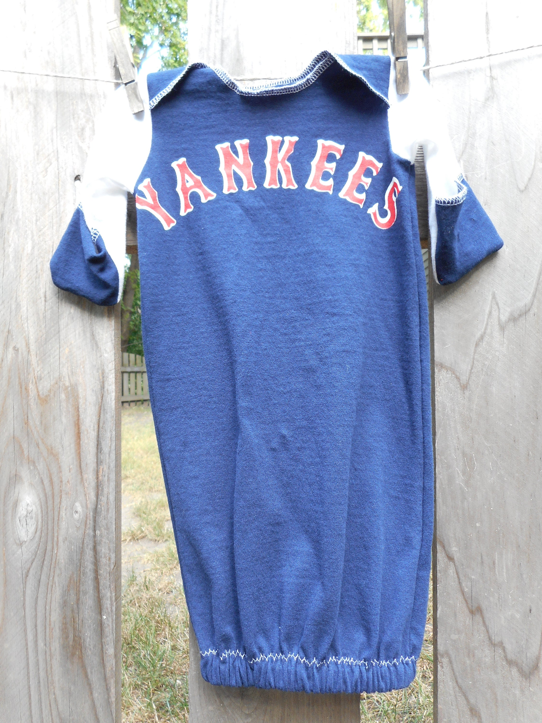 New York Yankees Baby Baseball MLB Infant upcycled t shirt Gown