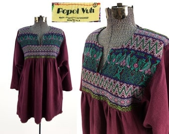Vintage Original 60s - 70s Huipil Top by Popol Vuh LARGE // Traditional // Central South American // Tunic // Cultural // Guatemalan // L