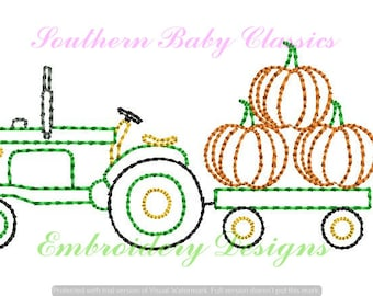 Old Antique Tractor Pumpkins Halloween Farm Autumn Design Vintage Quick Stitch File for Embroidery Machine Instant Download Boy Heirloom