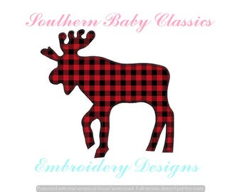 Moose Silhouette Blanket Stitch Applique Design File for Embroidery Machine  Instant Download Cute Boy Baby Camping Winter Christmas