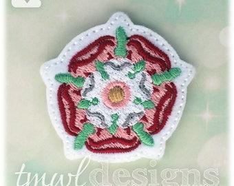 "Tudor Rose Emblem Feltie Digital Design File - 1.75"""