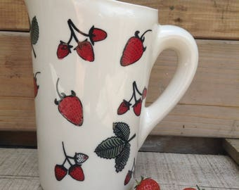 Milk jug for milk bag perfect for the long breakfast on sundays (keeps the milk fresh) with strawberries