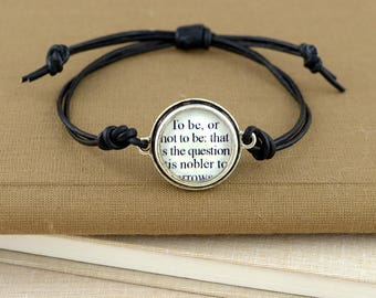 Hamlet Leather Bracelet – Shakespeare Quote Bracelet – Shakespeare Bracelet – Hamlet Book Bracelet – Shakespeare Gifts - Theatre Lovers