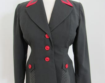 Uniquely Styled 1940s Charcoal Grey & Red Tailored Jacket
