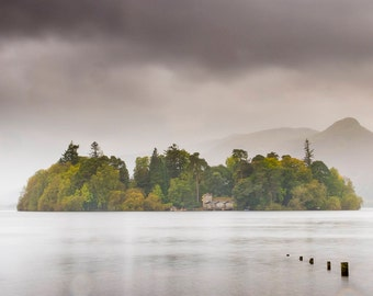 The Island on the Lake, Derwent Island, Lake District Print. Photography print of Cumbria.
