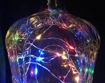 Crown Royal bottle with Multi Colored LED String Lights