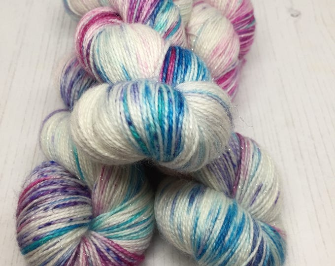 Oberon - Sparkly sock - 100grams 75/20/10% Merino and Nylon and stellina  Superwash merino  4 ply wool