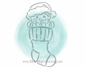Gingerbread in Christmas Stocking- PYO Stencil File- PERSONAL USE only