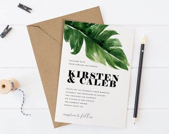 Printable Wedding Invitation Set, Tropical Destination Wedding Suite, Watercolor Palm Leaf Wedding Invite, Green Leaves,Simple Wedding Theme