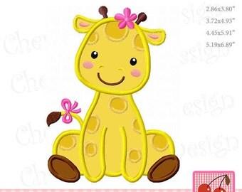 Giraffe Baby girl Giraffe Machine Embroidery Applique Design - 4x4 5x7 6x10 hoop AN0062