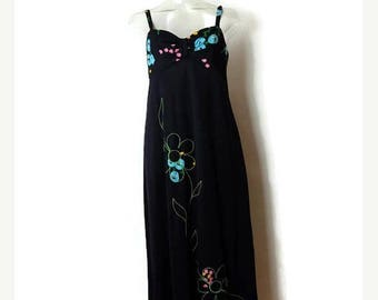 ON SALE Vintage Black x Floral Sleeveless Long Sun Dress/ Casual dress from 1970's*