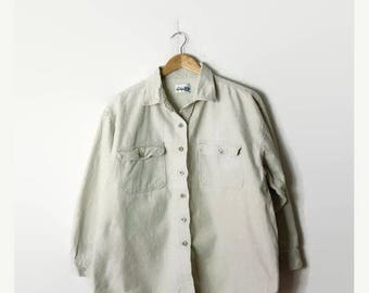 ON SALE Vintage Off White Corduroy  Blouse from 90's*