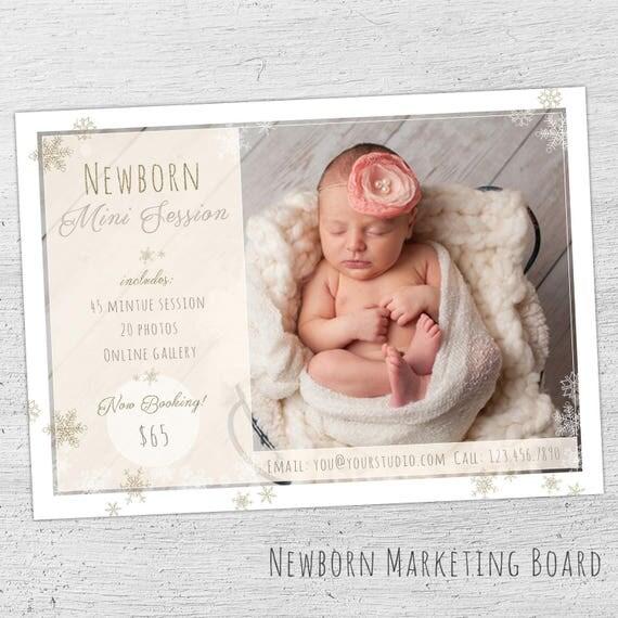 Newborn Photo Session Marketing Photoshop Template Newborn Mini - Mini session templates