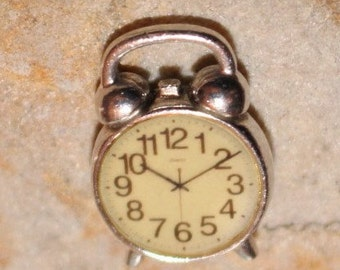 Sterling Silver Alarm Clock Pendant Double Sided