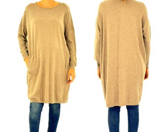 IM500TP sweater knit tunic long one size intervention bags Gr. M-XL taupe Gr. 40 42 44 46