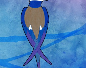 Whiskered Treeswift – Blank Notecards for Bird Lovers with Envelopes, Single or sets
