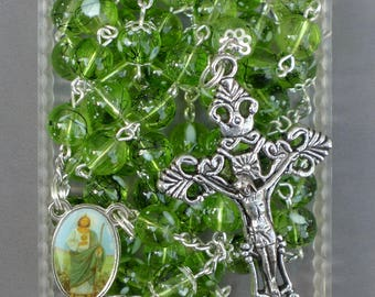 Silver - St Jude - 8mm Green Glass Rosary