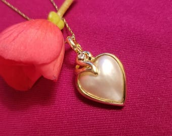 "14K Yellow Gold Heart Pearl Pendant with Diamond Accdent on 18"" 14K Yellow Gold Chain - Pearl Enhancer (st - 2051)"