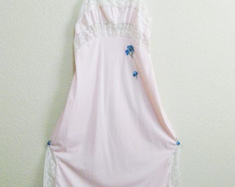 Pink Lace Nightgown Blue Floral Applique Small