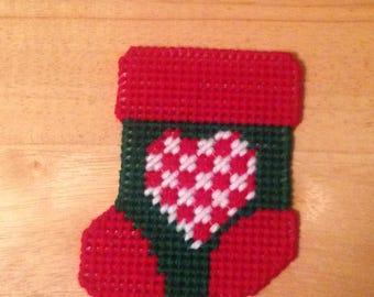 Plastic canvas Heart Stocking Gift Card Holder , needlepoint item, stocking stuffer, Christmas gift, card holder, perfect gift