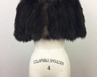 Vintage 30s Brown Fur Cape Jacket 1930s Coat