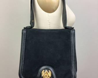 Vintage 60s 70s ZENITH Black SUEDE Leather Purse Handbag Handmade