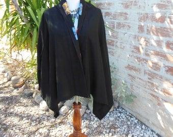 Black Boho Jacket, Bohemian Art Jacket, CLEAN, Embroidered applique Colorful detail, Boho Retro Hippie Unique Jacket, Bohemian Black Jacket