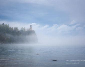 Split Rock Lighthouse, Lake Superior North Shore, Fog, Clouds, Moody, Nature Photography, Fine Art Print, Soft Blue, Healing Art, Minnesota