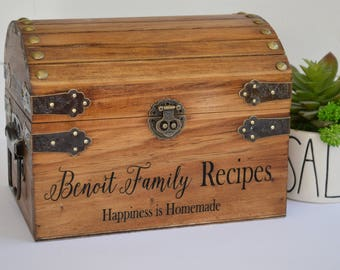 Family Recipe Box, Customized Recipe Box, Farmhouse Kitchen Decor, Personalized Gift For Her, Housewarming Gift, Pantry Organization
