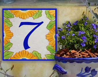 Hand painted individual number sign, Porcelain Sunflower door plaque. Small house number sign