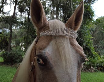Crystal Crown Tiara Browband for Horses  - Equine Tack Jewelry - for Princess Queen Costumes
